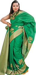 Kelly-Green Banarasi Sari with Woven Flowers and Peacock on Aanchal
