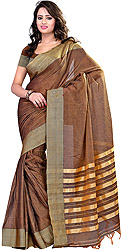 Otter-Colored Plain Sari with Woven Wide Border