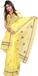 Yellow Chanderi Handloom Sari With Woven Flower and Golden border