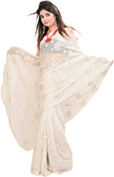Egret Colored Wedding Sari with Thread Embroidered Flowers and Sequins