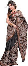 Black Kantha Sari from Kolkata with Hand Embroidered Flowers