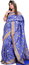 Bright-Blue Banarasi Sari with Woven Stylized Flowers and Golden Border