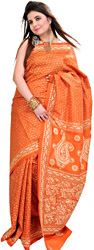 Apricot-Orange Kantha Sari from Kolkata with Hand Embroidered Bootis All-Over
