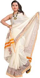 Vanilla-Ice Plain Kasavu Sari with Hand-Painted Madhubani Flowers