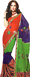 Tri-Color Sari with Embroidered Flowers and Bandhani Print