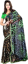 Loepard-Skin Printed Sari with Embroidered Patch Border