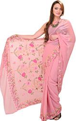Dusty-Rose Kashmiri Sari with Floral Ari Embroidery