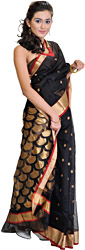 Jet-Black Chanderi Sari with Woven Diyas on Aanchal and Golden Border