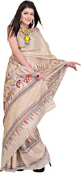 Frosted-Almond Designer Kantha Sari from Kolkata with Mirrors and Hand-Embroidered Flowers