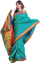 Dynasty-Green Paithani Sari with Woven Peacocks on Anchal
