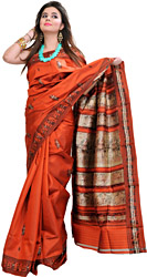 Red-Clay Baluchari Sari from Kolkata Depicting Radha Krishna on Aanchal