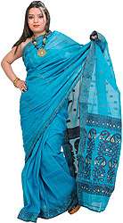 Tile-Blue Jamdani Sari from Bengal with Woven Paisleys on Aanchal