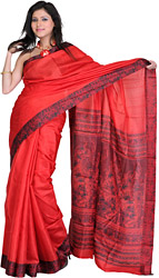 Poinsettia-Colored Plain Sari with Flower Printed Border and Self-Weave