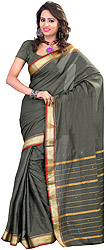 South Cotton Sari with Woven Stripes and Golden Border