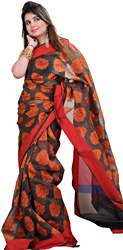 Double-Colored Banarasi Sari With Woven Flowers and Plain Border