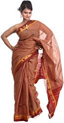 Copper-Brown Gadwal Sari with All-Over Woven Checks