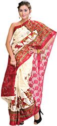 Whisper-White Kota Sari from Jaipur with Printed Horse Procession