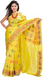 Green-Sheen Banarasi Handloom Sari With Woven Lotuses