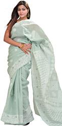 Smoke-Green Hand-Embroidered Lukhnavi Chikan Sari