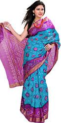 Blue-Jewel and Purple Tie-Dye Bandhani Sari from Gujarat with Brocade Border