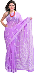 Lukhnavi Chikan Hand-Embroidered Sari with Woven Stripes