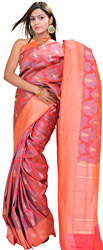 Geranium-Red Banarasi Sari with Woven Leaves and Wide Border