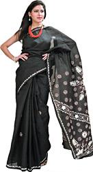 Phantom-Black Lukhnavi Chikan Sari with Hand-Embroidered Flowers on Aanchal