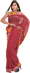 Earth-Red Sari with Kashmiri Floral Embroidery on Aanchal and Border