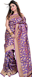 Royal-Lilac Banarasi Sari with Woven Flowers and Golden Border