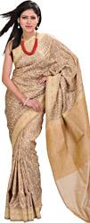 Tawny-Brown Banarasi Jamdani Sari With Woven Leaves  All-Over