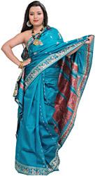Lake-Blue Baluchari Sari from Kolkata with Hand-Woven Apsaras on Aanchal