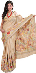 Frosted-Almond Sari from Kolkata with Kantha Hand-Embroidered Flowers