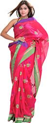 Bright-Rose Chanderi Handloom Sari with Woven Flowers