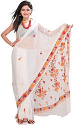 Bright-White Sari From Kashmir with Ari-Embroidered Flowers