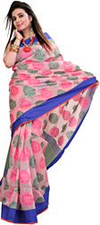 Candy-Pink Banarasi Sari With Woven Flowers and Solid Border