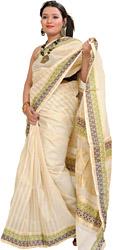 Ivory Kasavu Sari from Kerala with Woven Little Krishna on Pallu