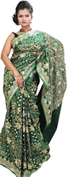 Amazon-Green Banarasi Sari with Beads and Embroidered Flowers in Golden Thread