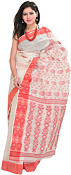 Bright-White Tangail Sari from Bengal with Woven Bootis