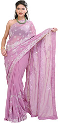 Smoky-Grape Wedding Sari with Embroidered Sequins All-over