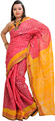 Honeysuckle-Pink and Yellow Bandhani Tie-Dye Sari from Gujarat with Woven Border