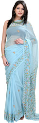 Angel-Blue Sari with Embroidered Flowers in Multi-color Thread
