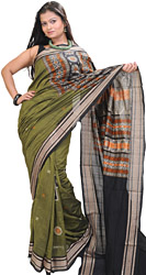 Olive-Green Bomkai Sari from Orissa with Hand-Woven Bootis and Rudraksha Border