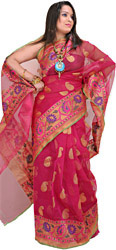 Lilac-Rose Banarasi Sari with Woven Paisleys and Wide Border