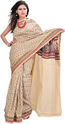 Pearled-Ivory Doria Sari with Woven Bootis