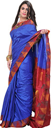 Strong-Blue Plain Pure Silk Sari from Karnataka with Woven Temple Border
