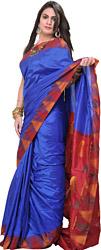 Strong-Blue Plain Pure Silk Sari from Karnataka with Woven Temple Border