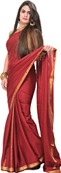 Brick-Red Plain Bridal Sari with Golden Thread Weave on Border