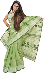 Nile-Green Tant Sari from Bengal with Woven Chakras