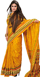 Yolk-Yellow Kantha Sari from Kolkata with Embroidered Zigzag Stripes