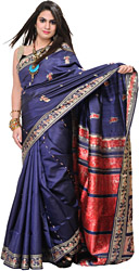 Crown-Blue Baluchari Sari from Kolkata with Depicting Hindu Mythological Episodes